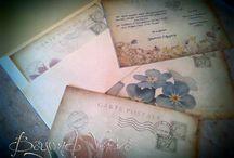 Wedding invitations / Vintage wedding invitations -  Vintage προσκλητήρια γάμου / Carte Postale Postcard style - Στυλ καρτ ποστάλ /