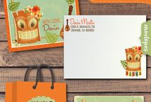 Retro Tiki Hawaiian Luau Party! / This awesome retro Tiki Hawaiian theme Luau invitation set is perfect for your upcoming Luau celebration! We have expertly printing Tiki Luau invitations that are artfully hand-mounted onto a gorgeous piece of metallic orange 110 lb, card stock. Hand-made Tiki Hawaiian thank you cards, favor tags, water bottle labels, and food tent cards are available to order with this amazing Luau party set!