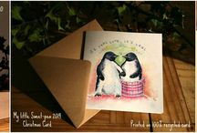 """Monty the Penguin / I am so excited to show you my new Christmas 'Penguin card'. Inspired my favourite advert of the year #montythepenguin Available now!  https://www.facebook.com/My.Little.Sweetpea.Murals  They are 6"""" by 6"""" square. Printed on 100% high quality recycled card."""