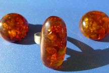 AMBER Rings & Earrings & Clips / Baltic Amber Jewelry - Rings , Earrings , Clips