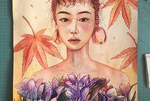 꽃,마음에 내려앉ㄷㅏ / 꽃일러스트,일사ㅇ
