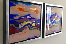 Abstract painting on plexiglass