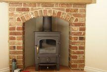 Corner wood stove