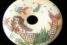 Carved Beads > Mermaid / Hand Carved Bone Mermaid Beads.