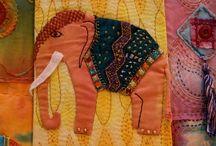Elephant creations / Elephants needle work sewn fabric