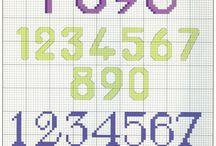Kanaviçe Harf Ve Sayı / Kanaviçe Harf Etamin Harf  Cross stitch  Alfabe  Rakam  Sayı