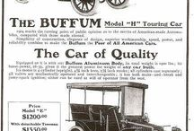 Buffum Automobile Ads / The H.H. Buffum Company of Abington, MA built touring cars and motor boats and if possible it departed from traditional looks. Initially, the cars had horiizantal motors with a composite chain and gear transmission, but in 1904, the motor was verticle with a cone clutch and sliding gear transmission. H. H. Buffum was a pioneer of the flat engine of multiple cylinders. In 1902 the Buffum automobile was equipped with opposed four cylinder engines that were rated at 16 horsepower.