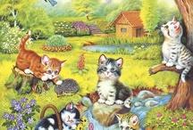 kedi temalı dekupajlar