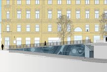 """Stockmann parking hall, Nousukierre / """"I received a very challenging task when the architect Pekka Laatio asked me to design an artwork to Kalevankatu Street Stockmann parking hall entrance into the ramps. Stockmann is main marketplace in the city of Helsinki."""