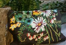 Stash and Squirrel / Eclectic Clutches Handmade From Vintage Crossstitch