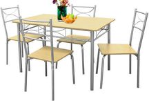 Dining Table Set Kitchen Chairs Patio Breakfast Food Metal