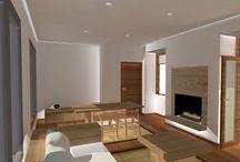 Sala d'estar - menjador / Projecte realizat durant el grau en disseny d'interiors. Seguint l'estil de Pawson.
