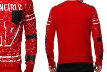 Sweater Kunstleer Gewatteerde Zipper 47 Invincible - Rood
