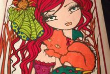 Mermaids, Fairies, and Other Girls of Whimsy by Hannah Lynn Adult Coloring Book / Pictures that I have colored from this coloring book