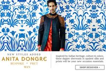 Shop Exclusive Menswear | Tarun Tahiliani & Anita Dongre / Menswear A/W'14 collection that features intricately hand embroidered kurta sets, embellished bundis, sophisticated short kurtas & trousers.