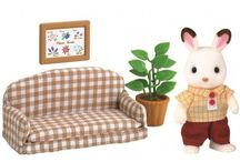 Sylvanian Families Zestaw z Tatą Królików z Czekoladowymi Uszkami (Kanapa) / Wyjątkowe zabawki dla dzieci marki Sylvanian Families