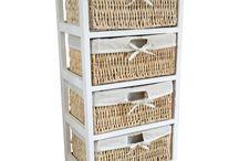 White Storage Unit Basket Drawers Cup Board Cabinet Organizer Wooden Beautiful