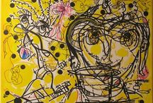 Yellow and Black Art / paintings, drawings