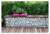 Design | Lena /  breeze block, concrete, corten steel,  gabions  / by Elizabeth