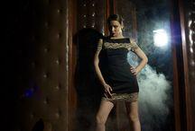 Lina Liri's Elegant High Fashion Black Color With Stretch Italian Lace. / Lina Liri's Elegant High Fashion Black Color Dress Straight Line With Stretch Italian Lace.