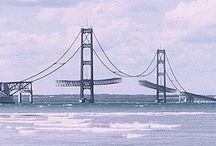 Mackinac Bridge (1954-1957) and the straights of Michigan area