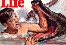 Man vs Beast / These magazines are generally considered the last of the true pulp magazines that had its heyday in the 1950s and 1960s. Catering to a male audience, these magazines featured glamour photography and lurid tales of adventure that typically featured wartime feats of exotic travel or conflict with wild animals.