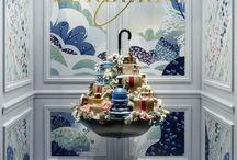 vitrine motif bleu