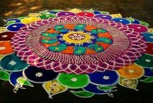 Rangoli / Indian Sand Art - Made by women in India in front of the house to invoke positive energy!