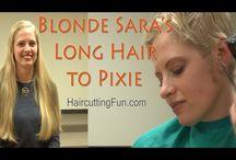 Blonde Sara's Long Hair to Pixie Haircut