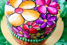 Tartas Pintadas con Acuarela / Tartas de fondant pintadas a mano con la técnica de la acuarela. Watercolour painted fondant cakes.