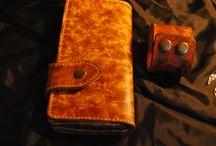 Veg tan leather Biker long wallet Unisex  Special effects
