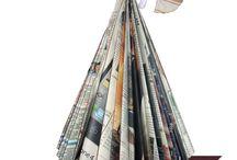 ALBERELLO CON RIVISTA RICICLATA / Questo alberello si può realizzare riciclando una vecchia rivista...anche un elenco telefonico!!Più pagine ha più bello viene!!
