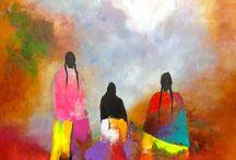 Arte Figurativo / Pinturas en acrílico abstracto y mixto sobre lienzo