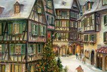 paisajes de nieve navideños