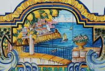 Naples Italy Ceramic Backsplash Tiles / The beautiful scenery of Golfo di Napoli with Mt. Vesuvius has been hand painted into one collage on ceramic tiles that will make your home more unique.