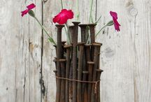 outdoor vase made of carpenter's nails