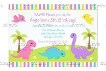 Cute Dinosaur Girl Birthday / This collection features cute dinosaurs on a green hill with daisy flowers and palm trees. There is a tyrannosaurus rex, brontosaurus, triceratops and pterodactyls. The colour palette consists of pink, turquoise blue, yellow and purple.