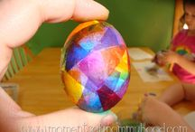 Easter egg coloring with kids