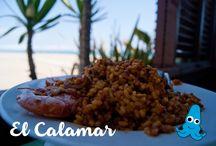 """La Gastronomía de Chiringuito El Calamar / Platos para degustar en """"El Calamar"""", chiringuito de la Playa del Prat en Barcelona.  Paellas, ensaladas, tapas, etc."""