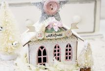 houses - little / made from chipboard, paper mache, wood, etc. altered, decorated, embellished, etc. holiday, birthday, home, and everything in between.   A collection of pretty houses