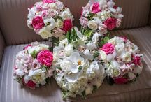 Pink and White Wedding / This bride wore ivory and her bridesmaids wore grey dresses.  The pink and white bouquets brightened up the wedding party's color scheme for a spring wedding.