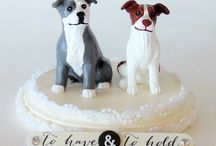 Pit Bull Wedding Accessories / There are many ways to make your Pit Bull part of your wedding day. Pit bull wedding toppers, ring bearer pillows, top hats, bow ties, and more.