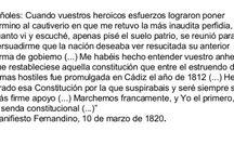 03 Textos. Fernando VII (1814-1833) / El reinado de Fernando VII de España en textos de todo tipo. ..... Comenta cada imagen con método..... Haz una breve PRESENTACIÓN en la que indiques: el tipo de documento qué es: lo que representa; a qué fecha se refiere; el autor (si es conocido); a quién va destinado... A continuación, realiza en un BREVE ANÁLISIS de las ideas principales sobre las que habría que hacer el comentario. Recuerda que este formato sólo permite 500 caracteres.