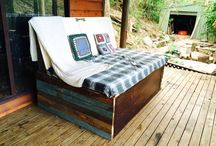 Up cycled Day bed / Made from an old door and wardrobe