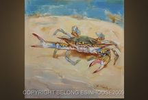 crab and sea paintings