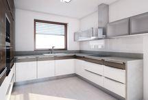 Návrh interiéru rodinného domu / Do rodinného domu jsme navrhli jednoduchý čistý interiér snábytkovými prvky vkombinaci dýhy Amerického ořechu a bílého laku.