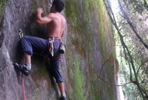 Climbers and boulders
