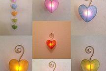 愛ライト / LEDキャンドルライト使用のハート型ライト 押しピンで壁に取り付けられます