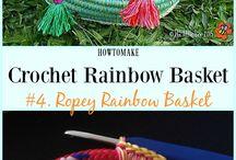 Crochet rainbow basket