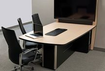 VC & Collaboration/Huddle Tables / Our tables bring a clean high-tech look to your video conference and collaboration rooms. They are offered stand-alone or as our configured room packages.